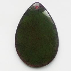 Кулон-капля из агата с трещинами зелено-желтый