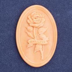 Резной кабошон с розой