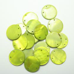 Круглые плоские бусины из перламутра зеленые 15 мм