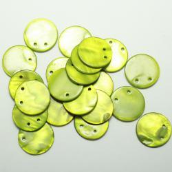 Круглые плоские бусины из перламутра зеленые 18 мм
