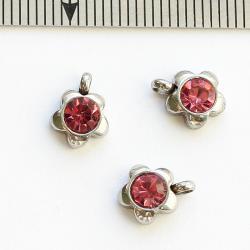 Стальная подвеска с розовым стразиком Цветок