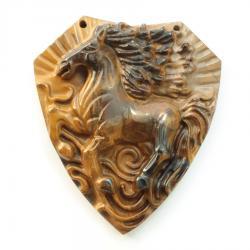 Резной кулон из тигрового глаза Конь
