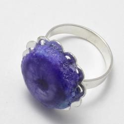 Фиолетовое кольцо с тонированным кварцем