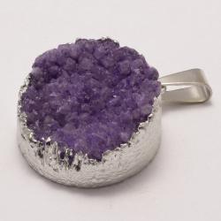 Фиолетовый кулон с агатом и серебром