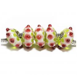 Стеклянные бусины для браслетов Пандора белые с цветными пупырышками