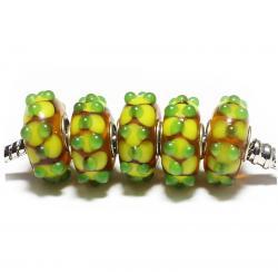 Стеклянные бусины для браслетов Пандора коричневые с желтыми пупырышками