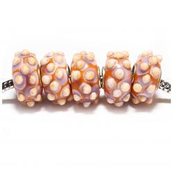 Стеклянные бусины для браслетов Пандора розовые с желтыми пупырышками